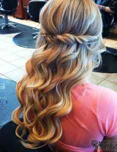 hair styles for curls waterfall braid half up half with curls 3914
