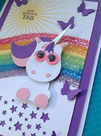 Unicorn Stampin Up Owl Punch and fox tail from the fox punch Girl Birthday Cards, Handmade Birthday Cards, Imprimibles Toy Story Gratis, Owl Punch Cards, Paper Punch Art, Owl Card, Kids Cards, Baby Cards, Scrapbook Cards
