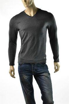 Calvin Klein Shirt Mens CK Liquid Cotton L/S Shirts Soft Knit V Neck Sz S New