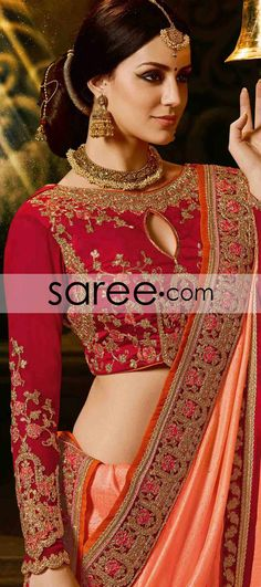 Peach Silk Saree with Zari