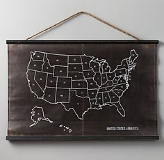 USA Chalkboard Map | Display | Restoration Hardware Baby & Child ~ The heck with the kids, I think this would look cool in my living room.
