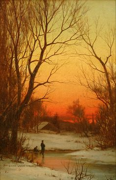 Bruce Crane - Sunset | From a unique collection of landscape paintings at http://www.1stdibs.com/art/paintings/landscape-paintings/