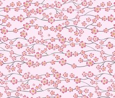 Pink Cherry Blossom fabric by kezia on Spoonflower - custom fabric