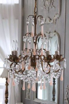 darling little accent chandelier with pink opaline drops. Chandelier Bougie, Antique Chandelier, Chandelier Lighting, French Chandelier, Pink Chandelier, Crystal Chandeliers, French Mirror, Antique Lighting, Shabby Cottage