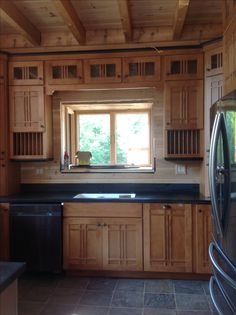 Genial Schuler Maple Kitchen Cabinets In Artisan Door Style With Chestnut Stain In  Log Home