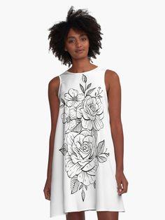 Robe trapèze «Fleurs», par ModeUnique | Redbubble Mode Unique, Courage, Summer Dresses, Tank Tops, Boutique, Fashion, Dress, Products, Flowers