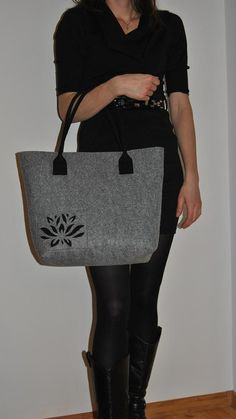 Felt Tote with cut out flower pattern Shoulder Bag felt Tote Gray Color Shopper felt bag on Etsy, $45.00