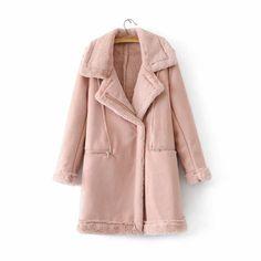 Size(cm) S M L Shoulder Width 41 42 43 Bust 102 106 110 Sleeve Length 56 57 58 Length 83 84 85 Long Leather Coat, Suede Leather, Leather Jacket, Blazer Vest, Winter Coat, Coats For Women, Wool Blend, Gray Color, That Look