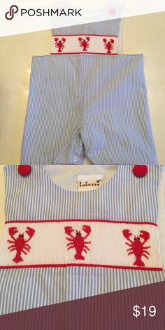Smocked shortall Lobster design smocked short all for boys. babceni Bottoms Jumpsuits & Rompers