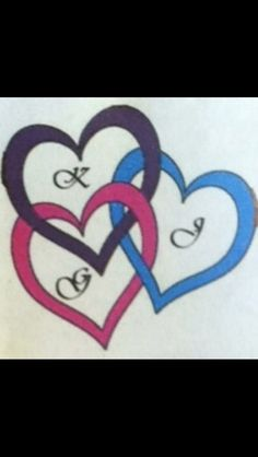 Tattoo my sister created for when I get 18 me my mom and my half sister are going to get this same tattoo and it has the 1 letter of our first names in the heart my sister designed it with this app pink is mine purple is my moms heart and blue is my sisters