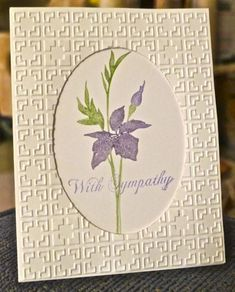 handmade sympathy card ... great use of embossing folder texture to frame the negative space oval window opening ...