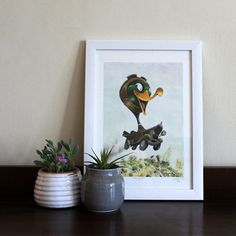 Sunday Morning Spin, Childrens Room Art, Fine Art Print by Terrapin, Room Art, Toad, Limited Edition Prints, Sunday Morning, Gouache, Spin, Fine Art Prints, Watercolor
