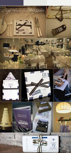 Travel Themed Wedding with heavy graphic and fonts making it more modern than vintage. Like the idea of airports and lamp shades