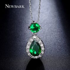 NEWBARK Water Drop Pendant Necklace Pink Green Blue Yellow Cubic Zirconia Necklaces For Women Jewelry Gift