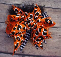 The BenGAL    Cincinnati Bengals    Orange and Black    Boutique Bow    Oregon State on Etsy, $9.00