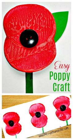 Remembrance Day Poppy Craft - Messy Little Monster Simple remembrance day poppy craft for kids. Memorial Day Activities, Remembrance Day Activities, Remembrance Day Poppy, Poppy Craft For Kids, Fun Crafts For Kids, Craft Activities For Kids, Educational Activities, Craft Ideas, Happy Hooligans