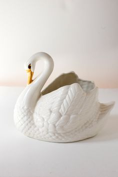Vintage Swan Planter .  Made in Holland. via Etsy.