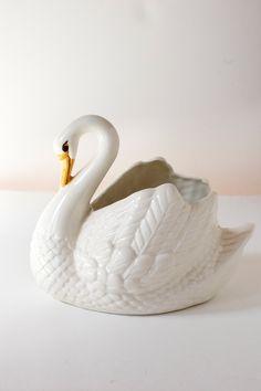 Vintage Swan Planter .