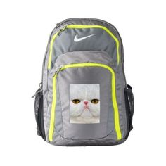 Cat Nike Performance Backpack, Dark Grey/Volt ($104) ❤ liked on Polyvore