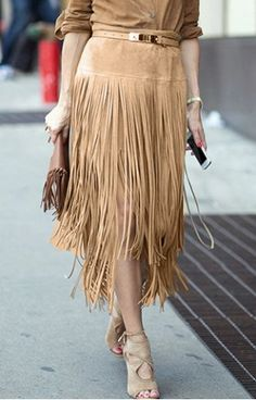 Trendy High-Waisted Solid Color Faux Suede Fringe Skirt For Women