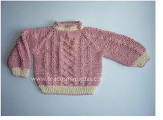 * Tejidos Miqueitas *: Jersey cerrado rosado con bordes beige