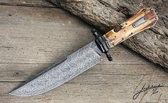 Samvel Brebor - Full damascus coffin bowie with mammoth - Petr Melicharek knives