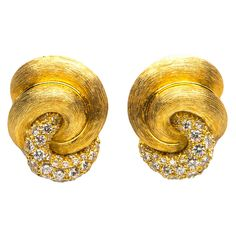 Henry Dunay Diamond Gold Earrings | From a unique collection of vintage clip-on earrings at https://www.1stdibs.com/jewelry/earrings/clip-on-earrings/
