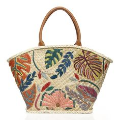Leaf-Embroidered Straw Tote