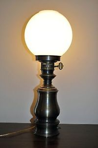 Vintage Electric Table Lamp Converted, Milk Glass Gone With The Wind Globe  VGC