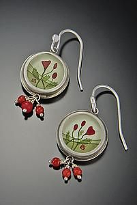 Round+Poppy+Earrings by Ananda+Khalsa: Silver+Earrings available at www.artfulhome.com