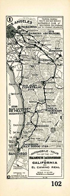 1915 Auto Club strip map showing the route of El Camino Real from the Los Angeles to San Diego. Courtesy of the Automobile Club of Southern ...