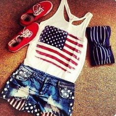 Shorts: american flag tank top red blue bandeau shirt t-shirt 4th Of July Outfits, Summer Outfits, Cute Outfits, Summer Clothes, July 4th Outfit Women, Fair Outfits, Summertime Outfits, Teens Clothes, Summer Fashions