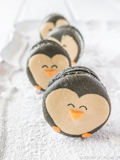 Penguin Macarons with Eggnog Ganache by raspberri cupcakes, look how cute these macaroons are!!! Dessert, gifts, party food,