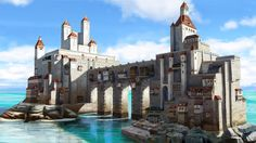 Sea Castle by on DeviantArt Fantasy Town, Fantasy Castle, Medieval Fantasy, Fantasy World, Fantasy Concept Art, Fantasy Artwork, Environment Concept Art, Environment Design, Fantasy Landscape