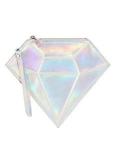 Silver Hologram Diamond Shaped Clutch Bag | Choies