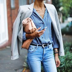 classic outfit // striped button down shirt with a belt and jeans and a blazer