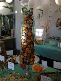 The tall Donut Tree was the Centerpiece for our Brunch Baby Shower . It took quite a few donut holes for this size. Looked beautiful.
