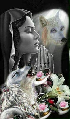 Fantasy Wolf, Fantasy Warrior, Fantasy Art, Good Night My Friend, Native American Spirituality, Wolves And Women, Hispanic Art, Wolf Artwork, Wolf Painting