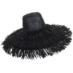 View this item and discover similar for sale at - Vintage Eric Javits glazed black straw shaggy fringe wide brim hat is a great hat with a very retro look.Glazed black straw hat has Black Wide Brim Hat, Large Brim Hat, Wide Brimmed Hats, Raffia Hat, Wide-brim Hat, Summer Hats, Shaggy, Vintage Hats, Headpieces