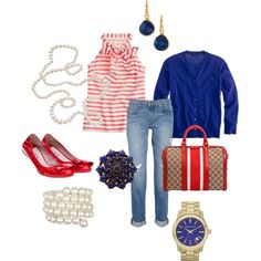 Red, Pearls & Blue, created by christina1969 on Polyvore