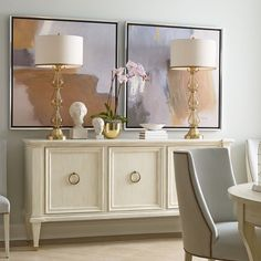 I love the soft color palette in this dining room! #chaddockhome #interiordesign #furniture #mainline #madeinamerica