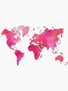 'Pink Watercolor Texture World Map' Sticker by anabellstar - Best of Wallpapers for Andriod and ios World Map Sticker, World Map Mural, World Map Wallpaper, World Maps, Watercolor World Map, Pink Watercolor, Cute Backgrounds, Wallpaper Backgrounds, World Map Travel