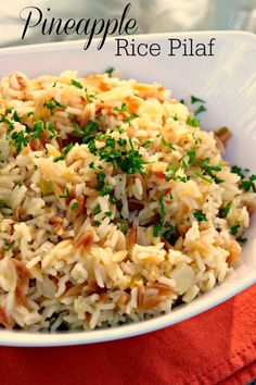 Pineapple Rice Pilaf:  A step above your ordinary rice pilaf and so easy to make!  #rice #side