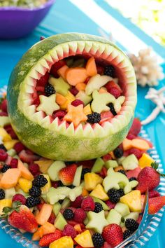 Mermaid Birthday Party (Under the Sea) Watermelon Shark - Under the Sea birthday party Watermelon Birthday Parties, Boy Birthday Parties, Birthday Ideas, 2nd Birthday, 1st Birthday Foods, Fruit Birthday, Meer Party Essen, Sea Party Food, Party Snacks