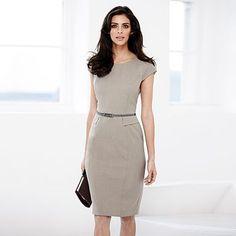 Taupe belted shift dress - Work dresses - Dresses - Women -