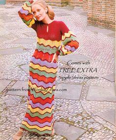 Gehäkeltes Kleid Muster Vintage PDF 095 BoHo Zickzack Maxi-Kleid aus WonkyZebra