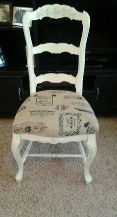 chalk paint painted chair in cream, with burlap stenciled cushion