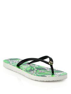 92b4f177fb309f TORY BURCH Printed Rubber Flip Flops.  toryburch  shoes  sandals
