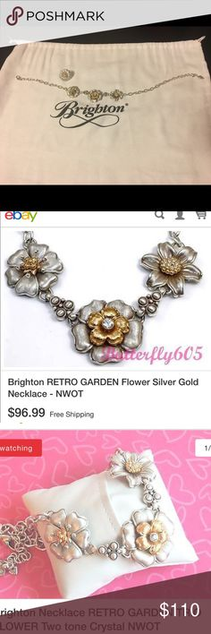 """Brighton Retro Garden Necklace Note: The Ring in the photo is a separate item. The total is for the necklace only. Rare Item--Worn once. Like New Condition  Color: Silver-Gold    Style #JN1172   Inspired by nature, these beautifully scupted floral shapes feature multi-layered blossoms for a three-dimensional effect.   16"""" adjustable chain, two-tone floral motif, brushed metal details, Swarovski crystal accents, lobster claw closure  1 1/4""""H Brighton Jewelry Necklaces"""