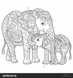 Hand Drawn Elephants Coloring Page